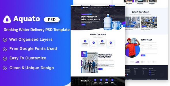 [Free Download] Aquato – Drinking Water Delivery PSD Template (Nulled) [Latest Version]