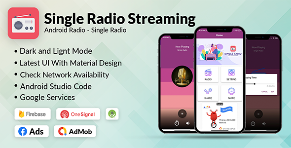 [Free Download] Single Radio App Android | Admob, Facebook, Onesignal (Nulled) [Latest Version]