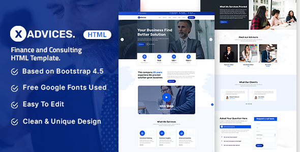 [Free Download] Xadvices – Finance and Consulting HTML Template (Nulled) [Latest Version]