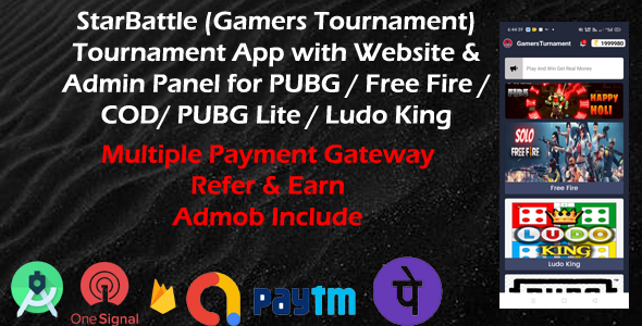 [Free Download] StarBattle (Gamers Tournament) – Tournament App with Website & Admin Panel for PUBG / Free Fire (Nulled) [Latest Version]