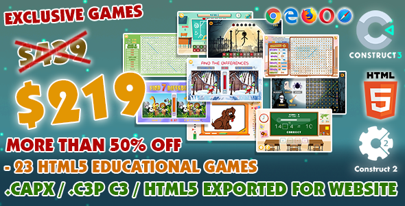 [Free Download] Educational Game Bundle #01 – 23 HTML5 Games – (Construct 2 or 3 source-code) (Nulled) [Latest Version]