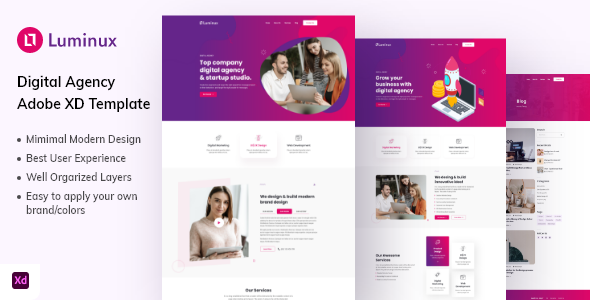 [Free Download] Luminux – Creative Digital Agency Adobe XD Template (Nulled) [Latest Version]