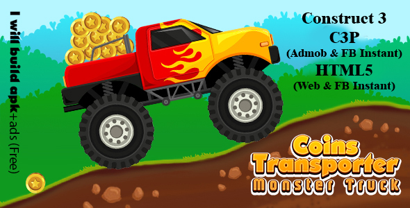 [Free Download] Coins Transporter Monster Truck (Construct 3 | C3P | HTML5) Admob and FB Instant Ready (Nulled) [Latest Version]