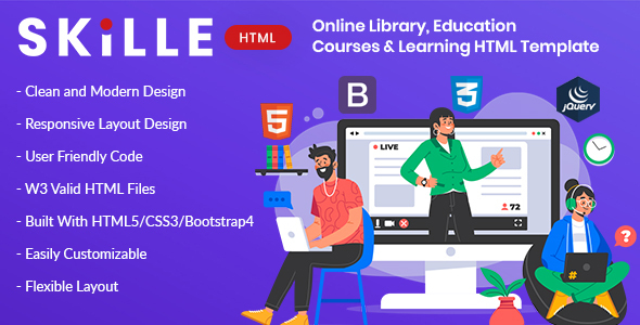 [Free Download] SKILLE – Online Library, Education, Course & Learning HTML Template (Nulled) [Latest Version]