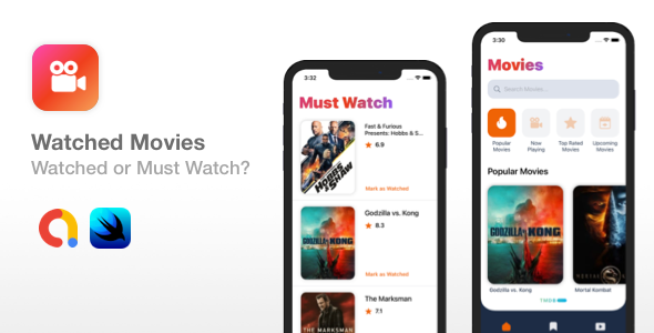 [Free Download] Watched Movies – SwiftUI iOS app template (Nulled) [Latest Version]