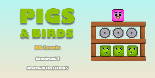 [Free Download] Pigs And Birds – HTML5 Game (Construct 3) (Nulled) [Latest Version]