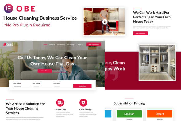 [Free Download] Obe – House Cleaning Business Elementor Template Kits (Nulled) [Latest Version]