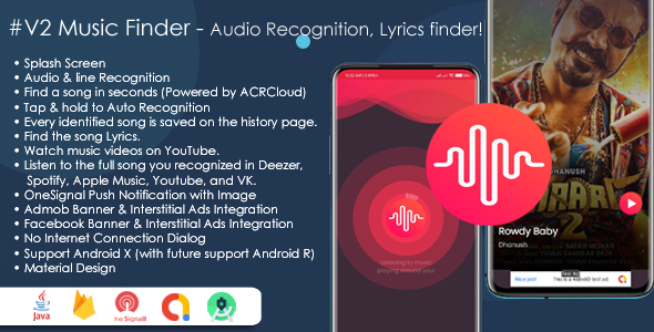 [Free Download] Music Finder – Audio Recognition, Lyrics finder & Search Music in the cloud, Shazam Clone with Admob (Nulled) [Latest Version]