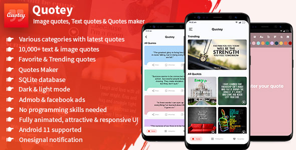 [Free Download] Quotey – Image Quotes, Text Quotes & Quotes Maker (Fully Animated UI) (Nulled) [Latest Version]