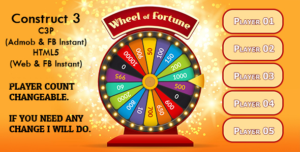 [Free Download] Wheel of Fortune Game (Construct 3 | C3P | HTML5) Admob and FB Instant Ready (Nulled) [Latest Version]