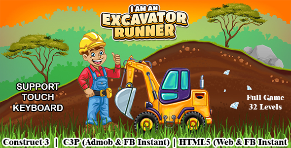 [Free Download] I am an Excavator Runner Full Game (Construct 3 | C3P | HTML5) Admob and FB Instant Ready (Nulled) [Latest Version]