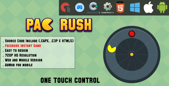 [Free Download] Pac Rush – HTML5 Game – Web, Mobile and FB Instant games(CAPX, C3p and HTML5) (Nulled) [Latest Version]