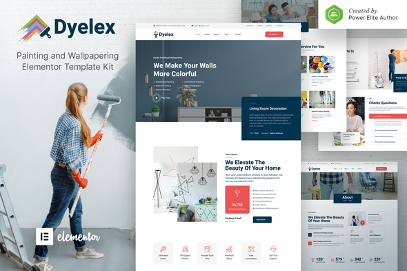 [Free Download] Dyelex – Painting & Wallpapering Service Elementor Template Kit (Nulled) [Latest Version]