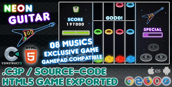 [Free Download] Neon Guitar HTML5 Game – With Construct 3 All Source-code (Nulled) [Latest Version]