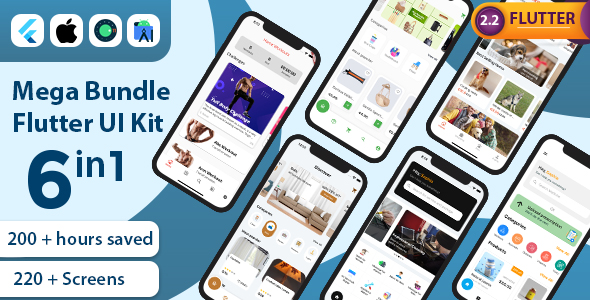 [Free Download] Mega Bundle Flutter UI Kit   All in one   6 Premium Apps (Add 1 App Every Month) (Nulled) [Latest Version]