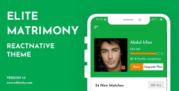 [Free Download] Elite Matrimony React Native Theme/Template (Nulled) [Latest Version]