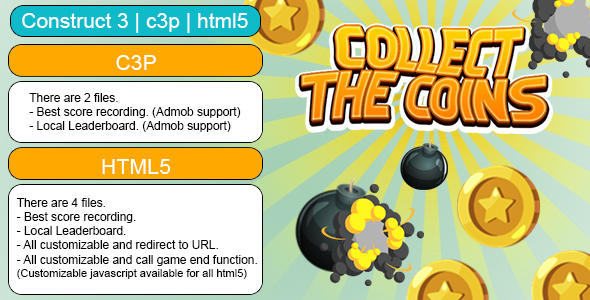 [Free Download] Collect The Coins Game (Construct 3   C3P   HTML5) Customizable and All Platforms Supported (Nulled) [Latest Version]