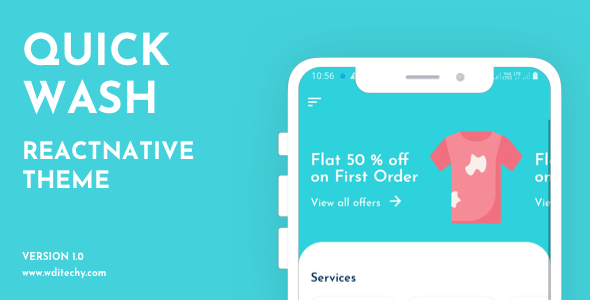 [Free Download] QuickWash React Native Dry Cleaning Theme/Template (Nulled) [Latest Version]