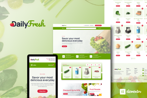 [Free Download] DailyFresh – Grocery Store Elementor Template Kit (Nulled) [Latest Version]