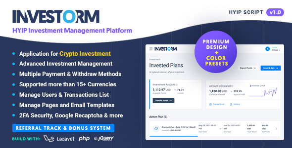 [Free Download] Investorm – Advanced HYIP Investment Management Platform (Nulled) [Latest Version]
