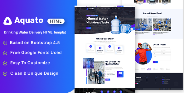 [Free Download] Aquato – Drinking Water Delivery HTML Template (Nulled) [Latest Version]