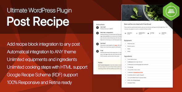 [Free Download] Ultimate Post Recipe – Responsive WordPress Posts Cooking Recipes plugin (Nulled) [Latest Version]