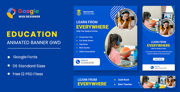 [Free Download] Learning Courses Animated Banner GWD (Nulled) [Latest Version]