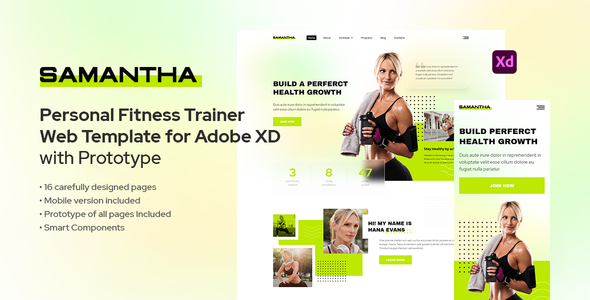 [Free Download] Samantha – Personal Fitness Trainer Template for Adobe XD (Nulled) [Latest Version]