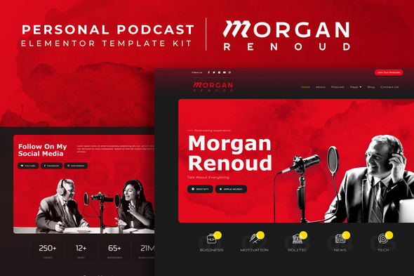[Free Download] Morgan Renoud – Personal Podcast Elementor Template Kit (Nulled) [Latest Version]