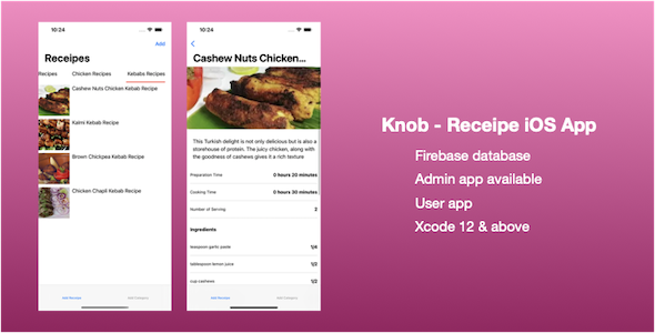 [Free Download] Knob – Receipe iOS App (SwiftUI) (Nulled) [Latest Version]