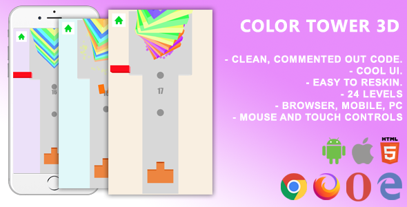 [Free Download] Color Tower 3D. Mobile, Html5 Game .c3p (Construct 3) (Nulled) [Latest Version]