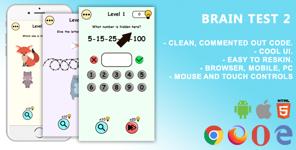[Free Download] Brain Test 2. Mobile, Html5 Game .c3p (Construct 3) (Nulled) [Latest Version]