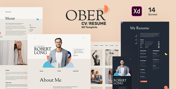 [Free Download] OBER – Resume CV Landing Page XD Template (Nulled) [Latest Version]