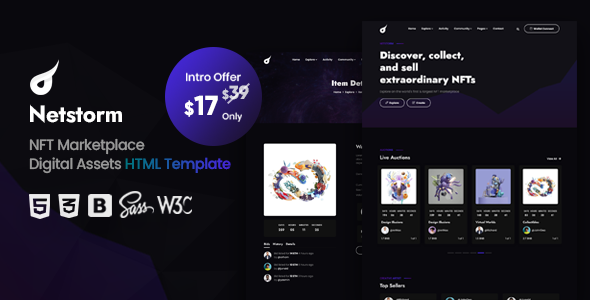 [Free Download] Netstorm – NFT Marketplace HTML Template (Nulled) [Latest Version]