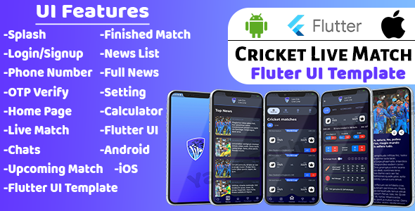 [Free Download] Cricket Live Match UI Template   Flutter 2.0   (Nulled) [Latest Version]