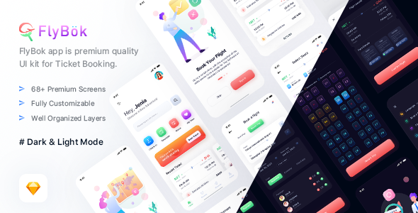 [Free Download] FlyBok – Ticket Booking UI Kit For Sketch (Nulled) [Latest Version]