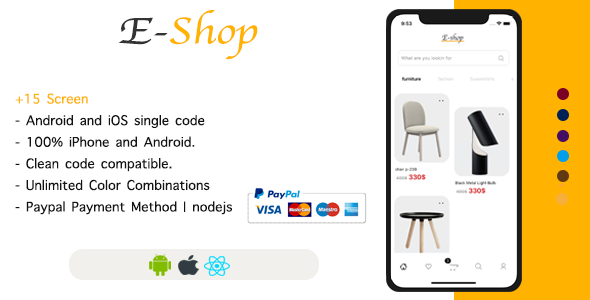[Free Download] E-Shop – React Native Ecommerce Template / Redux / JSON Server (Nulled) [Latest Version]