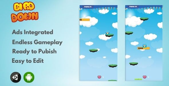 [Free Download] Bird Down 2D – Unity Arcade Game (Nulled) [Latest Version]