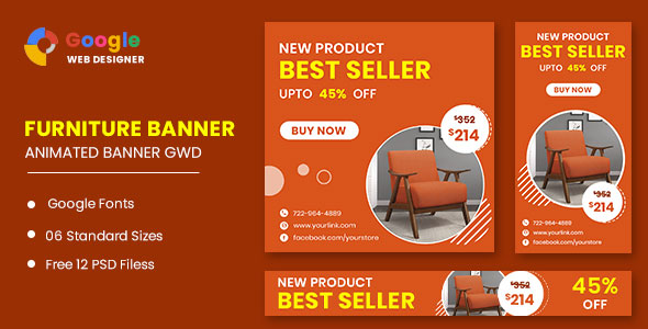 [Free Download] Furniture Google Adwords Sale HTML5 Banner Ads GWD (Nulled) [Latest Version]