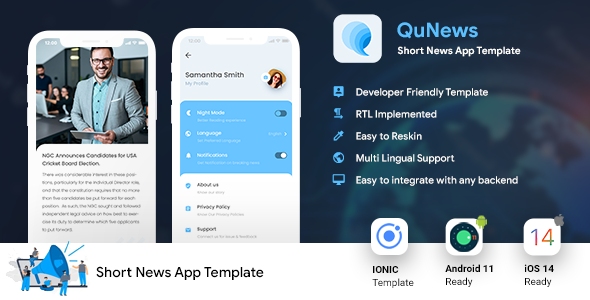 [Free Download] Short News Android App Template + iOS App Template | IONIC 5 | News App | QuNews (Nulled) [Latest Version]