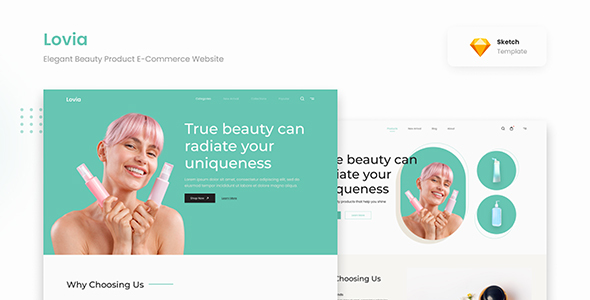 [Free Download] Lovia – Elegant Beauty Product E-Commerce Website Sketch (Nulled) [Latest Version]