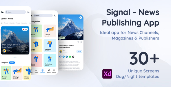 [Free Download] Signal | News Publishing App Xd Template (Nulled) [Latest Version]