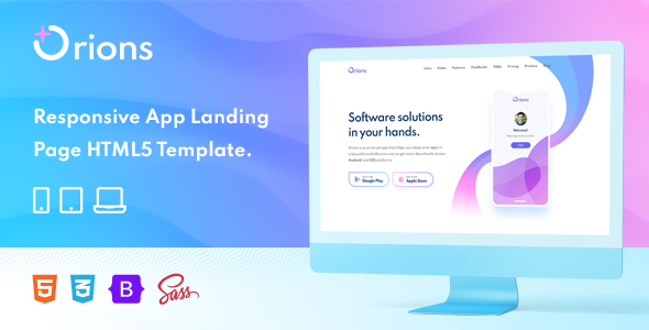 [Free Download] Orions – Responsive App Landing Page HTML Template (Nulled) [Latest Version]