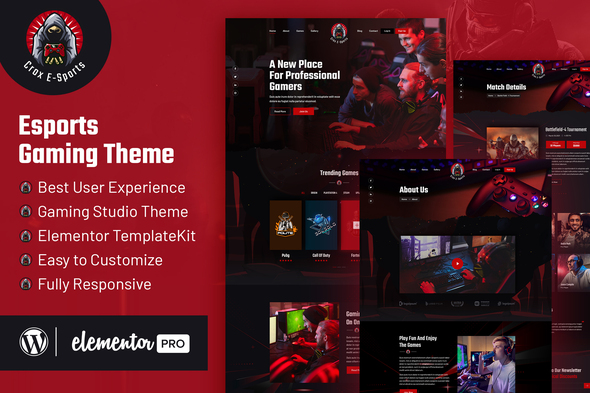 [Free Download] CROX    Esports & Gaming Elementor Template Kit (Nulled) [Latest Version]
