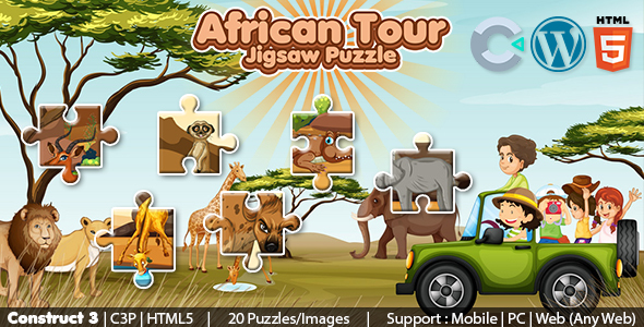 [Free Download] African Tour Jigsaw Puzzle Game (Construct 3 | C3P | HTML5) 20 Levels (Nulled) [Latest Version]