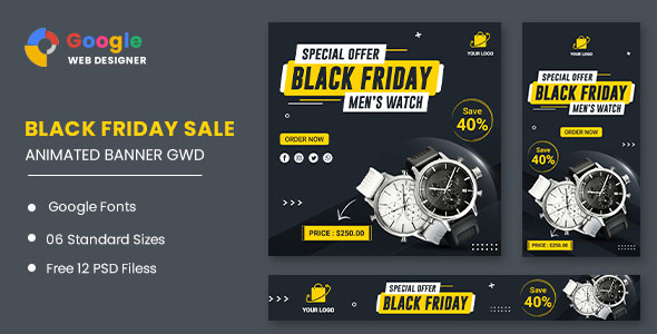 [Free Download] Watch Banner Set Black Friday HTML5 Banner Ads GWD (Nulled) [Latest Version]