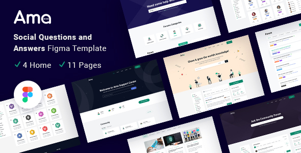 [Free Download] AMA – Social Questions and Answers Figma Template (Nulled) [Latest Version]
