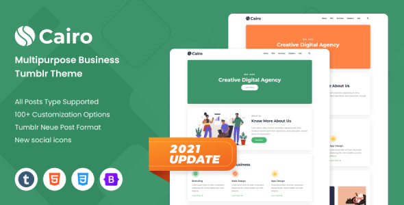 [Free Download] Cairo – Creative & Modern Multipurpose Tumblr Theme (Nulled) [Latest Version]