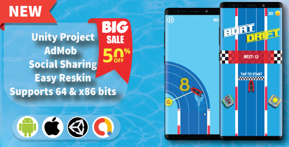 [Free Download] Boat Drift – Unity Game Template + Unity Ads + Admob (Nulled) [Latest Version]