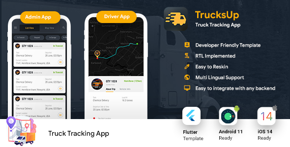 [Free Download] Truck Tracking Android + iOS App Template | 2 Apps | Truck App Driver app | Flutter 2 | TrucksUp (Nulled) [Latest Version]